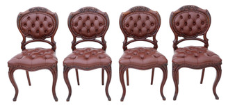 Antique set of 4 Victorian C1870 mahogany leather dining chairs