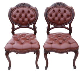 Antique pair of Victorian C1870 mahogany hall, side, bedroom or dining chairs
