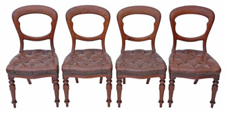 Antique set of 4 Victorian C1880 mahogany leather balloon back dining chairs