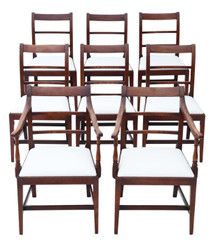 Antique fine set of 8 (6+2) Georgian mahogany dining chairs C1800