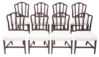 Antique fine quality set of 8 Georgian mahogany dining chairs C1760