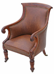 Antique quality Regency mahogany leather library armchair chair