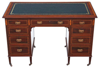 Antique fine quality Victorian inlaid mahogany twin pedestal desk JAS Schoolbred