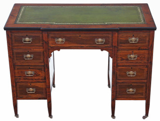 Antique quality small Victorian inlaid rosewood twin pedestal desk writing table