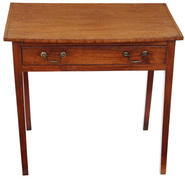 Antique Georgian C1800 crossbanded mahogany desk writing side table