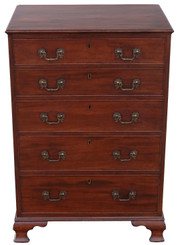Antique fine quality narrow Georgian mahogany chest of drawers Early 19th C