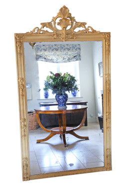 Antique very large quality floral full height wall floor mirror 19th Century