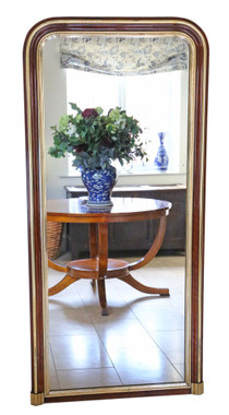 Antique large quality gilt walnut full height wall floor mirror C1900