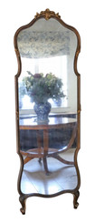 Antique large quality 2-tone gilt full height wall floor mirror C1900