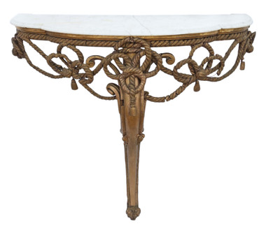 Antique 19th Century gilt marble demi-lune console table