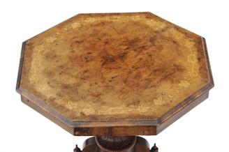 Antique Victorian octagonal inlaid burr walnut window centre table