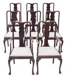 Antique set of 8 (6+2) mahogany Queen Anne revival dining chairs