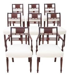 Antique Georgian fine quality set of 8 (6+2) inlaid mahogany dining chairs C1800
