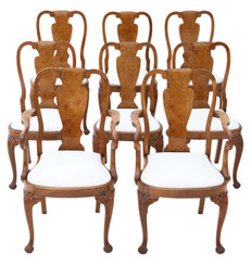 Antique set of 8 (6+2) burr walnut Queen Anne revival dining chairs