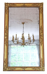Antique large quality Georgian gilt overmantle wall mirror C1800