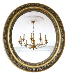 Antique large quality oval gilt overmantle wall mirror 19th Century