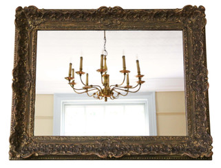 Antique large quality 19th Century Louis XIV style gilt overmantle wall mirror