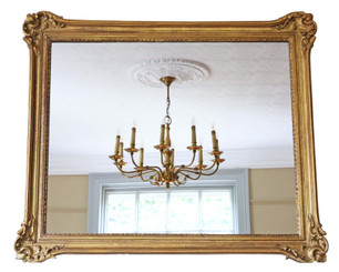 Antique large quality gilt wall or overmantle mirror 19th Century