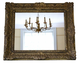 Antique large quality gilt 19th Century Louis XIV style overmantle wall mirror