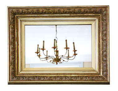 Antique large quality 19th Century gilt overmantle / wall mirror