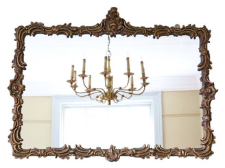 Antique large 19th Century gilt overmantle wall mirror