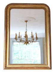 Antique quality large 19th Century gilt overmantle or wall mirror