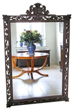 Antique large fine quality carved oak full height wall floor mirror 19th Century