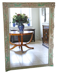 Antique large quality floral full height wall floor mirror 19th Century