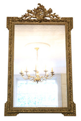 Antique large fine quality 19th Century French gilt overmantle or wall mirror