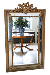 Antique very large fine quality gilt wall floor cushion mirror 19th Century
