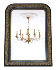 Antique large 19th Century ebonised and gilt finish overmantle wall mirror
