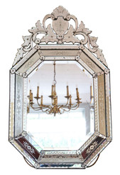 Antique 19th Century large quality Venetian glass overmantle or wall mirror