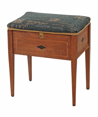Antique Edwardian inlaid walnut piano music dressing table stool