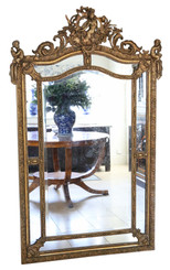 Antique very large quality gilt wall floor cushion mirror 19th Century