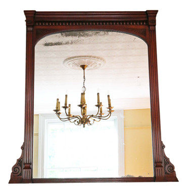 Antique large quality carved mahogany wall or overmantle mirror 19th Century