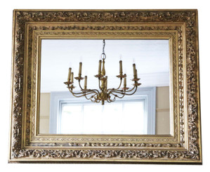 Antique large quality gilt 19th Century overmantle wall mirror
