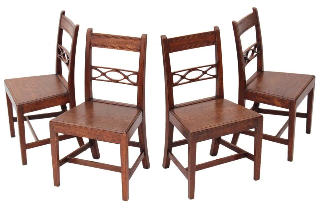 competitive price ec72d 0e353 Antique quality set of 4 19C Georgian oak dining chairs ...