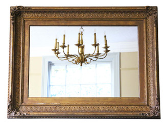 Antique large quality gilt 19th Century wall or overmantle mirror