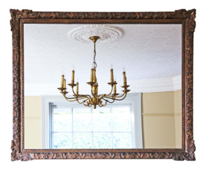 Antique large quality copper gilt overmantle wall mirror 19th Century