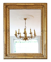 Antique large quality early 19th Century gilt overmantle wall mirror