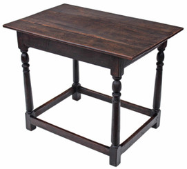 Antique 19C Georgian oak side occasional dining desk writing table