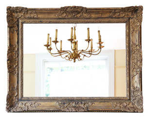 Antique large quality gilt overmantle wall mirror 19th Century oak frame