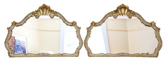 Antique pair of large quality decorated gilt wall mirrors 19th Century