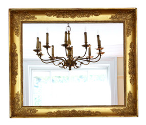 Antique early 19th Century large quality gilt overmantle wall mirror