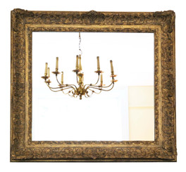 Antique large quality gilt early 19th Century overmantle wall mirror