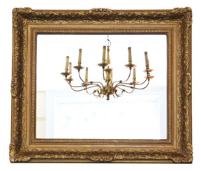 Antique large gilt quality overmantle wall mirror 19th Century