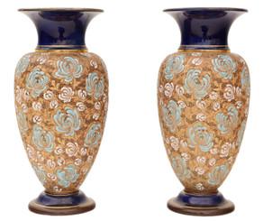 Antique large pair of Royal Doulton Slater vases Art Nouveau