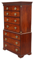 Antique fine quality Georgian mahogany tallboy chest on chest of drawers