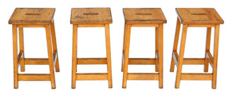 Antique set of 4 C1970 beech kitchen dining stools retro vintage