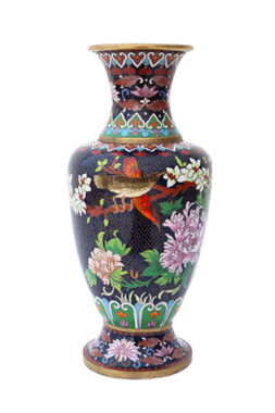 Antique large early-20th Century Oriental cloisonne vase